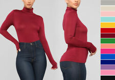 Women's Basic Scrunch Turtle Neck Long Sleeve Top Fitted T-Shirt Solid Soft Knit