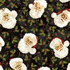 SANTA CLAUS FATHER CHRISTMAS HOLLY FABRIC