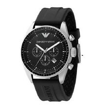 ARMANI MENS CHRONOGRAPH WATCH AR0527 BLACK DIAL RUBBER STRAP, COA, RRP £279.00