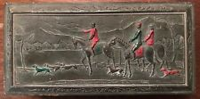 VINTAGE JAPAN SILVER TONE JEWELRY BOX WITH IMAGE OF HUNTERS, HORSES, AND HOUNDS
