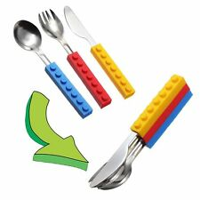 Silicone building block Spoon Fork Kids' Cutlery Kitchen Tool Utensils Snack Kit
