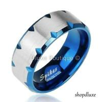 Stainless Steel 316L Blue IP Faceted Edge Two-Tone Ring Band Size 5-13