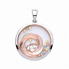 argento e rosa placcato oro vetro pendente a cerchio con zirconi cubici & FIORE