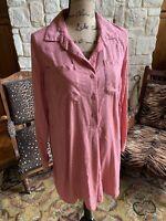 Pink French Rose Shirt Dress Tunic Pink Ikat Natural Fabric Button Front Medium