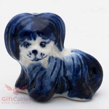 Porcelain Bichon Frise Dog Figurine Gzhel handmade