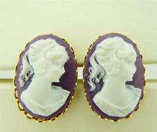 Purple Colored Ladies Head Cameo Oval Cufflinks 25x18 MM Scalloped Edges