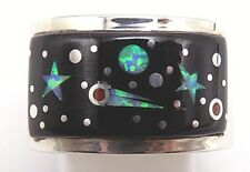 Navajo Handmade Inlay Night Sky Ring Set In Sterling Silver - Size 8- M