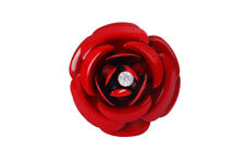 Anello regolabile grande rosa rossa smaltato con cristallo