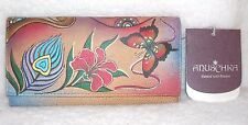 NWT ANUSCHKA HAND PAINTED LEATHER CHECKBOOK WALLET Peacock Butterfly