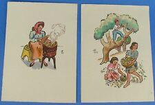 2 Unframed Signed Watercolor Prints Isle of Capri Italy Dated 1943 Original Art