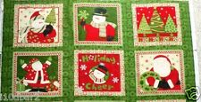 CHRISTMAS FABRIC PANEL SANTA Ho Ho Holiday 6 QUILT squares MUMM FABRIC