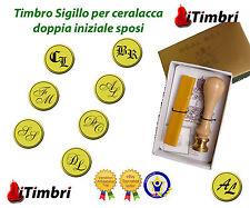 Timbro Sigillo doppia iniziale per Ceralacca sposi  carta buste bottiglie