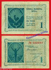 BIllete local RIPOLL 1 Peseta 1937 - BC / F