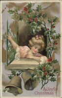 Christmas - Little Girl Looks Out Window - Holly & Bells WINSCH c1910 Postcard