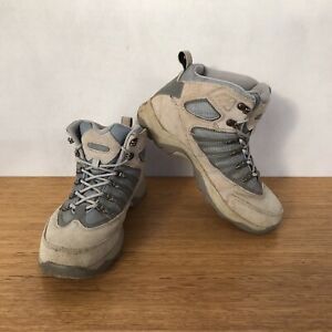 ☘️ Womens Hi Tec MDT Leather Hiking Trail Boots Sneakers Shoes Brown Size 8.5 39