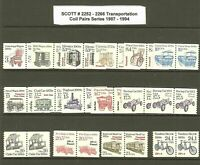 Scott # 2252 -2266 1987-94 Transportation Coil Pairs MNH OG