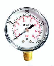 Pressure Gauge 0/200 PSI & 0/14 Bar 40mm Dial 1/8 BSPT Bottom connection.