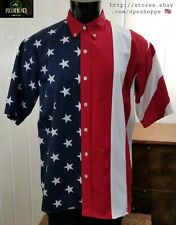New listing RedHead American Flag Patriotic Usa S/S Button Front Cotton Shirt Sz L
