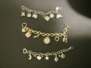 Lot of three Vintage Charm Bracelets silver tone and gold tone chains