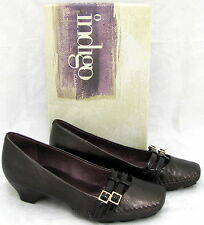 Indigo by Clarks Women Brown Metallic Leather Heels Pump Circus Mary Jane Sz 5.5