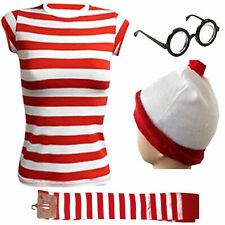 New Womens Wheres Wally Instant Kit Book Week Day Boys Girls Fancy Dress Costume