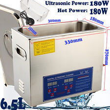 Ultrasonic Cleaner Digital Stainless Ultra Sonic Bath Cleaning Tank Timer Heate 6.5l