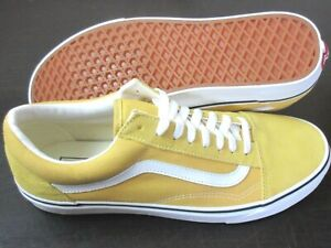 Vans Mens Old Skool Ochre Yellow True White Suede Canvas Skate Shoes Size 11.5