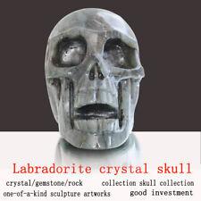 """Huge 5.1"""" Labradorite Human Carved Crystal Inside Hollowed Skull,Super Realistic"""
