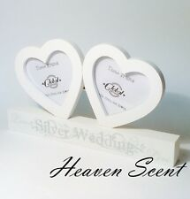 Wooden 25th Silver Wedding Anniversary Double Photo Frame Gift Present Ideas