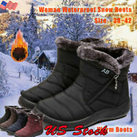 US Women Ankle Boots Winter Snow Fur Lined Warm Waterproof Outdoor Ski Shoes NEW