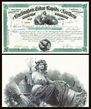 Burlington, Cedar Rapids and Northern Railway IA 1898 Stock Certificate