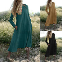Women Long Sleeve Solid Cotton A-Line Casual Loose Flare Swing Kaftan Maxi Dress