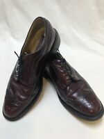 Bob Smart Burgundy Lace Up Perforated Leather Wingtips Men's Shoe Size 10.5 E