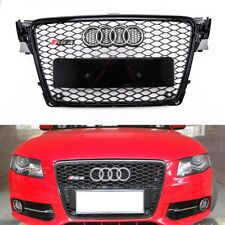 Audi A4 S4 B8 09-12 RS Style Front Hood Mesh Honeycomb Black Grille Silver Ring