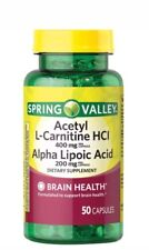 SPRING VALLEY Acetyl L-Carnitine HCL 400mg Alpha Lipoic Acid 200mg - 50 Capsules