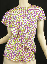 ETRO Milano Multicolor Stretch Silk Floral Print Ruffle Blouse Top Sz 40 / 6