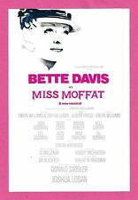 """Bette Davis """"MISS MOFFAT"""" Avon Long / Dody Goodman 1974 Musical FLOP Flyer"""