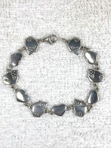 "Retired Hard To Find James Avery Sterling Silver Cat & Heart Link Bracelet 7.25"""