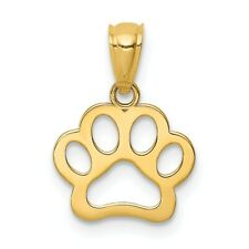 14K Dog Paw Pendant New Charm Yellow Gold