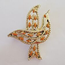 Gerrys Gold Tone Coral Enamel Dove Brooch Bird Pin Or Pendant Vintage Jewelry
