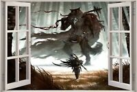 Huge 3D Window view Fantasy Warrior Forest Wall Sticker Decal Wallpaper 721