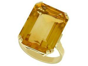 15.71ct Citrine and 14ct Yellow Gold Dress Ring Vintage Circa 1940