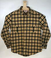 Filson Garment Shirt Plaid Checked Flannel Chore Long Sleeve Heavy Black Tan Med