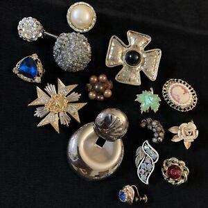 Vtg SINGLE Earring Lot of 14 Rhinestone Cameo Statement Glass Clip Screw CRAFT