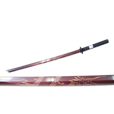 "40"" Wooden Samurai Sword Katana Bokken Dragon Engraved Practice Training Red New"