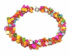 FAB Multi Colours Crystal and Shell Beaded necklace multi-strand