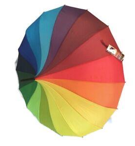 Ladies Rainbow Umbrella SOAKE Womens Fashion Brolly Pagoda Shape Canopy NEW