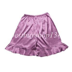 Women Anti-Static Short Satin Pettipants Slip Bloomer Loose Ruffled Shorts