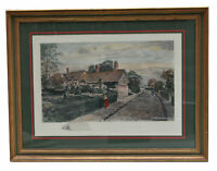 """25"""" Antique Colored Etching Ann Hathaway's Cottage Old English Houses Village"""