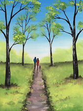 SARAH FEATHERSTONE, ORIGINAL WATERCOLOUR PAINTING, A WALK IN THE PARK, FINE ART
